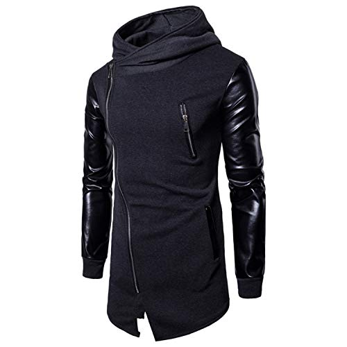 Kaured Fashion Mens Casual Hoodie Jackets Pu Leather Patchwork Motorcycle Long Outwear Coat Zipper Irregular Rock Coats Color 3 M
