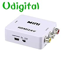Udigital 1080P HDMI to AV 3RCA CVBS Composite Video Audio Converter Adapter Supporting PAL/NTSC with USB Charge Cable for PC Laptop Xbox PS3 TV STB VHS VCR Camera DVD