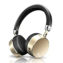 Noise Cancelling Headphones Wireless Bluetooth Headphones on Ear by Meidong Headphones with Mic 8hs Playing Time for Cellphone Tablet Mp3 MP4 (Gold)