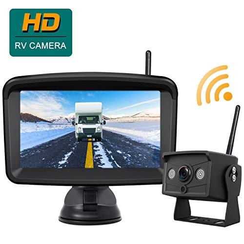 "Built-in DVR, No Interference, No Filcker CAMONS Digital Wireless Reversing Camera Kit 120/°HD 18IR Night Vision IP68 Waterproof Reverse Camera System for RV,Van,Truck 7/"" Rear View 4 Split Monitor"