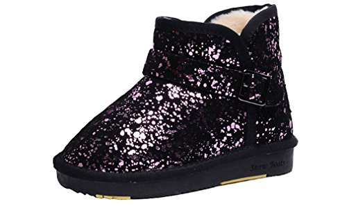 Black Leather Purple Girls Boot Boot Light Ankle Choice Sneaker Shoe Slip Low Non Boys Multiple Winter Pointss Fashion Snow Lined Cotton Fur Thickened xFwq1tU5cB