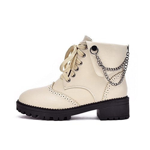 Low Beige AgooLar Top Women's Boots Closed Solid Round Low Toe Heels PU rYrxPqw