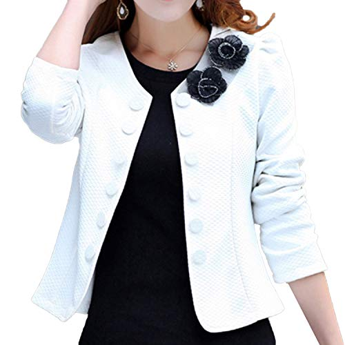 - Women's Casual Jacket Round Neck Short Coat Bolero Cardigans (US 10, White) Basic-Design Business Classical Cover-up Dress Feminine Garment Kawaii Open-Cut Slender Vintage