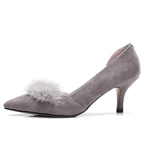 Nine Seven Cuero Moda Puntiagudos Zapatos de Tacón Aguja de Vestir para Mujer gris
