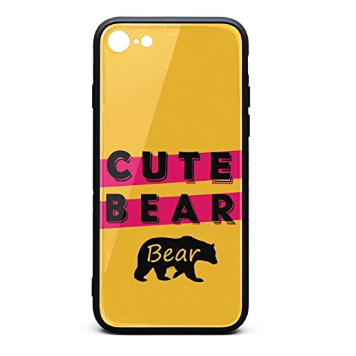 Phone Case for IPhone8/iPhone7 Pretty Bear Animal Cute Bear Tempered Glass Black Anti-Scratch TPU Rubber Bumper Shock Cover for Womens Back Cover