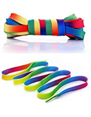 4 Pairs Premium Rainbow Sneakers Shoelaces - Flat Colorful Fashion Shoelaces for Kids and Adults (46 Inch/54 Inch)
