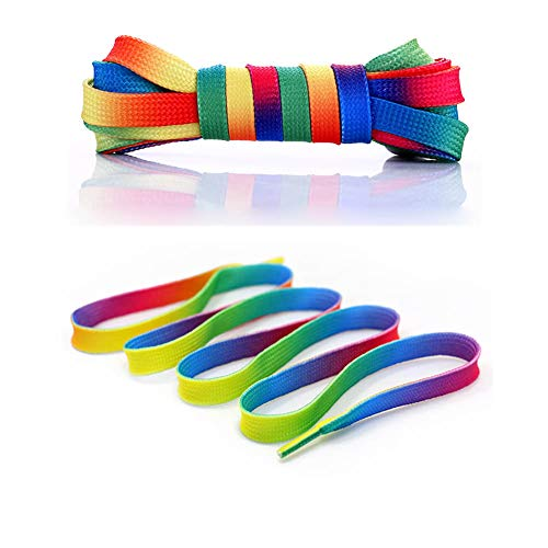 4 Pairs 46/54 Inch Premium Shoelaces- Oval or Flat Colorful Fashion Sneakers Shoelaces for Kids and Adults ()