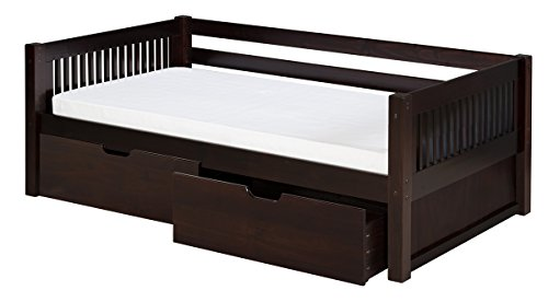 (Camaflexi Mission Style Solid Wood Daybed with Drawers, Twin, Cappuccino)