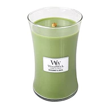 Bergamot Basil - Woodwick 21.5 Oz Large Jar Candle Burns 130 Hours