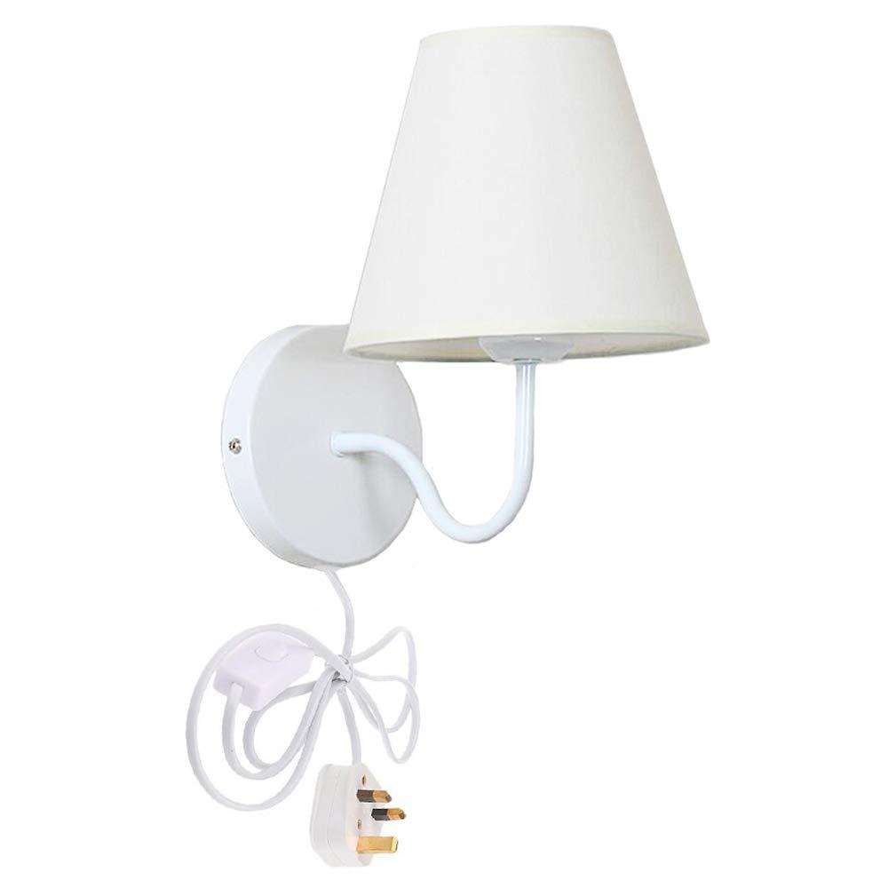 Fsliving Plug-in Wall Light Modern Bedside Reading Lamp,White