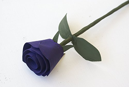 Purple Rose handmade of wood for Five year anniversary, Birthday, Get well soon or romantic gift