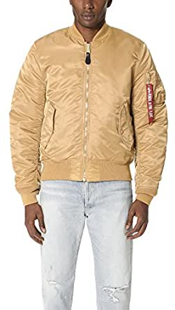Alpha Industries Men's MA-1 Slim Fit Mid Length Flight Jacket, Camel/Deep Brown Lining, Large