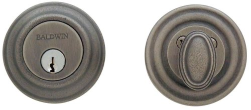 Baldwin 8231.452 Traditional Deadbolt 2-1/8-Inch Door Prep, Distressed Antique Nickel