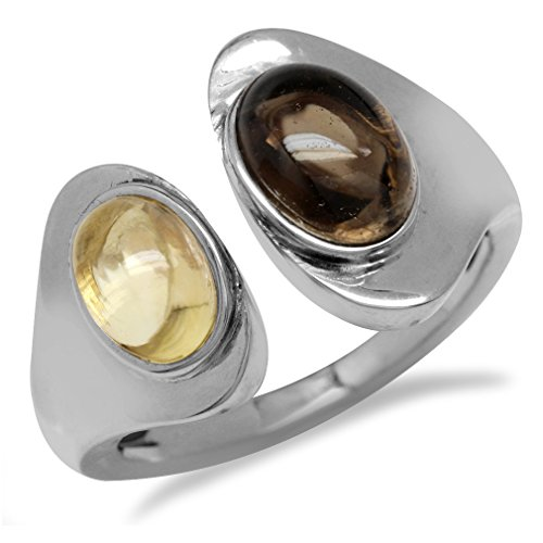 (Smoky Quartz & Citrine White Gold Plated 925 Sterling Silver Open Front Ring Size 6.5)