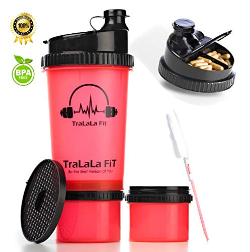 (TraLaLa Fit ProStak Shaker Bottle - 24oz 3 in 1 with Clean Brush, Protein Shaker Cup with Mesh, BPA Free, Attachable Storage Containers-Pill Organiser Cap Gym Shaker, Nutrition Shaker, Fittness Shaker)