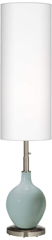 Modern Floor Lamp Aqua-Sphere Blue Glass OVO Steel Tall White Linen Cylinder Shade for Living Room Reading Bedroom