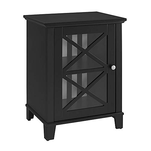 Glass Front Media Cabinet - Linon Reagan Awning Stripe Small Cabinet