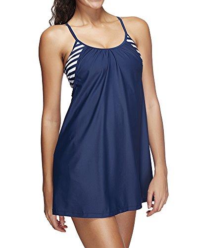 Mujer Raya Marina Guerra Vendimia Mini Swimdress Dos Piezas Cuello Halter Traje De Baño Con La Falda Azul oscuro