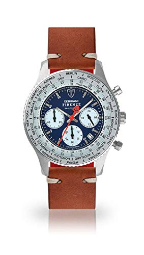 DETOMASO Firenze Racing Mens Watch Chronograph Analogue Quartz Brown Vintage Leather Strap Blue dial DT1069-A-786