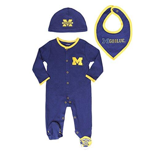 FAST ASLEEP Michigan Wolverines Baby Boy (3pc) Footie, Bib and Hat (Wolverine Bodysuit Kids Costumes)