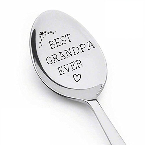 Boston Steel Stainless Spoon (Grandpa - Best Grandpa Ever Spoon - Stainless Steel - Funny gifts - Best selling items - Grandpa gifts - pregnancy reveal to grandparents - dad gifts - papa gifts - spoon#SP_076)