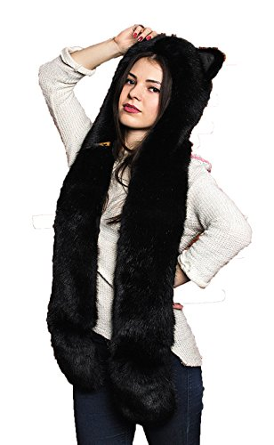 Unisex Adult Faux Fur Cartoon Animal Hood 3-in-1 Function Gloves Scarf (Black Marten) (Bear Hood With Paw Scarf)