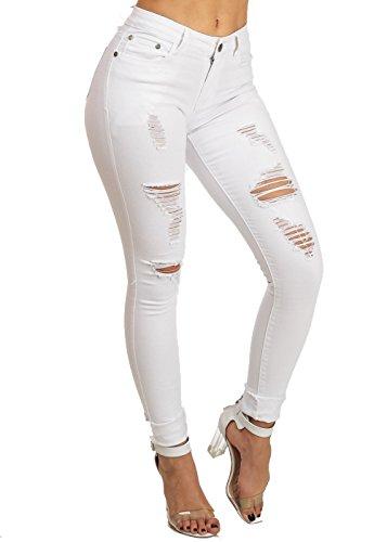 Womens Juniors Stylish Low Rise Ripped White Bodycon Skinny Denim Jeans 10312B