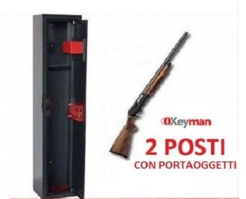 ARMADIO PORTAFUCILI FUCILIERA UTILIA A 2 POSTI CASSAFORTE KEYMAN IN ACCIAIO