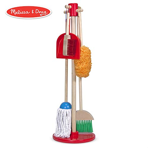 Box Helper Green - Melissa & Doug, Let's Play House! Dust! Sweep! Mop! Pretend Play Set (6-piece, Kid-Sized with Housekeeping Broom, Mop, Duster and Organizing Stand for Skill- and Confidence-Building)