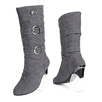 DYF Stivali scarpe la fibbia della cinghia Poe tacco medio cilindro centrale superficie morbida,Giallo,38