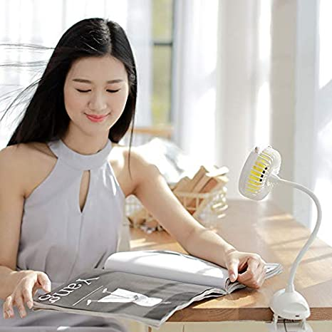 Majome USB Portable Clip-on Stroller Fan 3 Speeds Settings Flexible Bendable Mini Desk Electric Fans