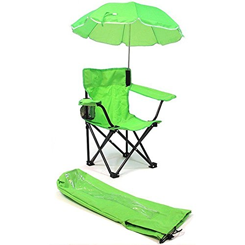 Green Outdoor Folding Chairs - Redmon Beach Baby All-Season Umbrella Chair with Matching Shoulder Bag, Lime Green