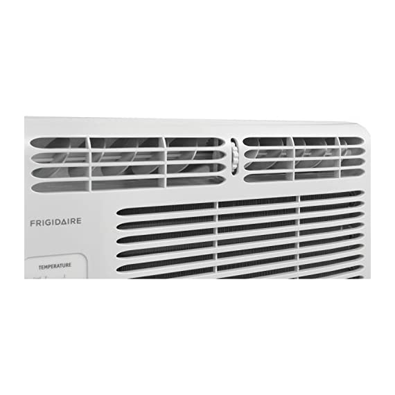 Frigidaire FFRA0511R1E 5, 000 BTU 115V Window-Mounted Mini-Compact Air Conditioner with Mechanical Controls 10 5,000 BTU mini-compact air conditioner for window-mounted installation uses standard 115V electrical outlet (Window mounting kit included) Quickly cools a room up to 150 sq. ft. with dehumidification up to 1.1 pints per hour Mechanical rotary controls, 2 cool speeds, 2 fan speeds, and 2-way air direction.Accommodates windows with a minimum height of 13 inches and width of 23 inches to 36 inches
