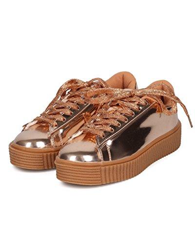 Alrisco Femmes Creeper Sneaker - Plate-forme De Lacets Toe Up - Casual Mode À La Mode Dans Le Style Sneaker Flatform - Hd86 Par Misbehave Collection Miroir Or Rose Métallisé