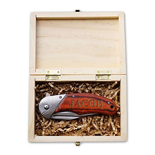 Hunting Knife Gift Box- Groomsmen Guys - Boyfriend Pocket Knives, Husband Gift Set or Mens Wedding Gifts - Folding Blade Wood Handle Spring Assisted with - Hunting Knives Engraved