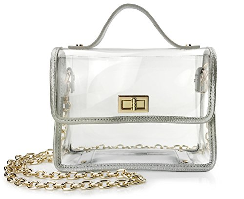 Clear Womens Shoulder Handbag Chain Cross Body Bag Purse for Stadium Approved (Silver) ()