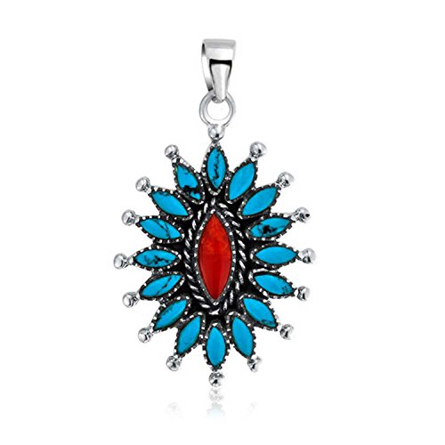 Native American Style Southwestern Oval Concho Red Simulated Coral Enhanced Turquoise Silver Pendant Necklace For Women