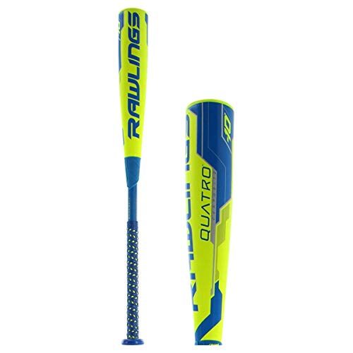 Rawlings Quatro Composite Usa Baseball Bat, 2-5/8' Big Barrel, 30' Length, -10 Drop Weight, 20 oz
