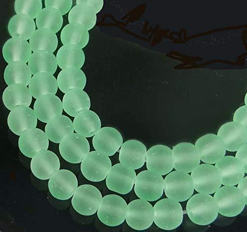 100 Czech Frosted Sea Glass Round/Rocaille Beads Matte - Sea Foam Green -