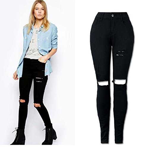 Vanvler Women Cool Ripped Knee Cut Skinny Long Jeans Pants Slim Pencil Trousers Fashion 2017 (L, Black) (Trouser The Jean Hardware)