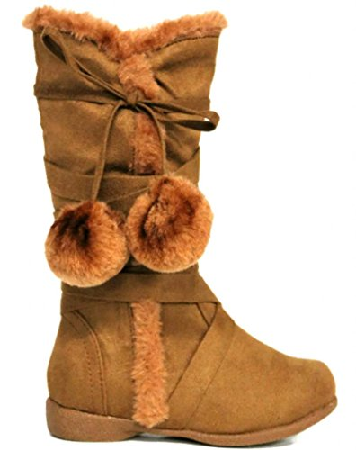 Toddler & Little Girl's Low Wedge StrapPom PomBoots 10