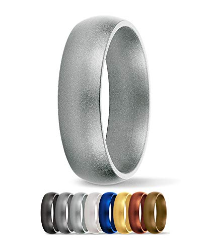 SafeRingz Silicone Wedding Ring, 6mm, Made in The USA, Men or Women, Silver 6