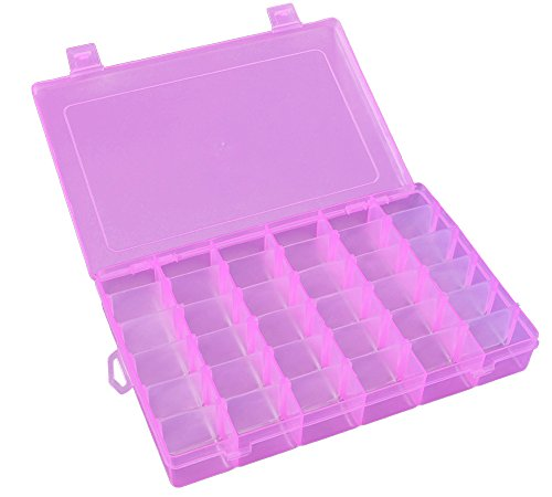 Plastic Jewelry Box Organizer Storage Container with Adjustable Dividers For Sorting Earrings, Rings, Beads and Other Mini Goods 36 Grid 1PC (Pink) (Colored Plastic Box)