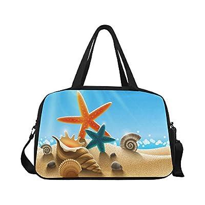 new InterestPrint Starfish Seashell Beach Duffel Bag Travel Tote Bag Handbag Luggage