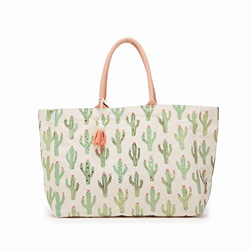 Looking Sharp Cactus Pattern Tote Bag with Metallic Print and Tassels (Light Green)