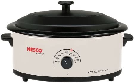 Nesco 6 Quart Capacity Ivory Roaster Oven – Porcelain Cookwell – Black Lid