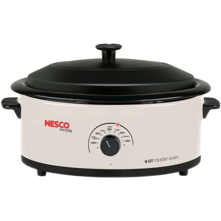 Nesco 6 Quart Capacity Ivory Roaster Oven - Porcelain Cookwell - Black Lid by Nesco