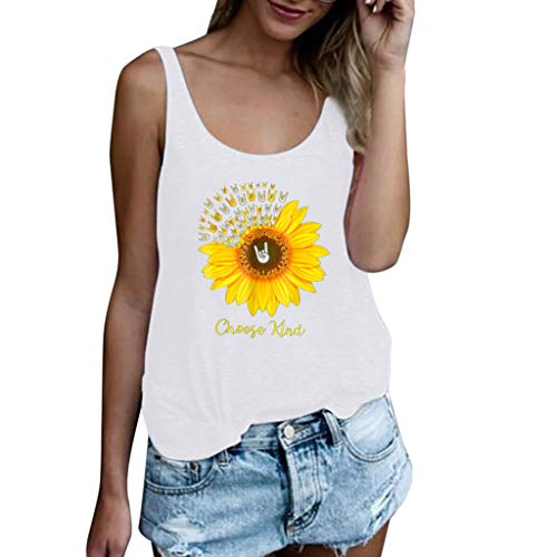 ✔ Hypothesis_X ☎ Women's Sleeveless Sunflower Print Tank Top Plus Size Short Sleeve T Shirt Blouse Tops Vest White