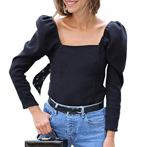 - Women's Long Sleeve T-Shirts Square Neck Puff Elastic Sleeve Unique Sexy Slim Fit Casual Tunic Tops Blouse Tees (Medium) Black