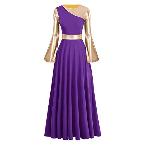 IBAKOM Women Adult Metallic Gold Color Block Long Sleeve Praise Dance Worship Robe Dress Loose Fit Full Length Liturgical Tunic Circle Skirt Lyrical Dancewear Swing Gowns Ballet Costume Purple-Gold M